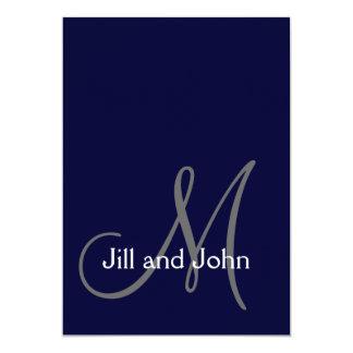Monogram Initial Wedding Invitation Navy Blue