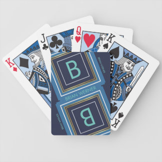 monogram (initial) with blue & gold border, modern bicycle playing cards