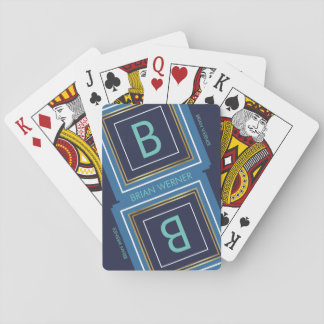 monogram (initial) with blue & gold border playing cards