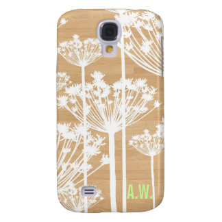 Monogram initial wood background floral pattern galaxy s4 case