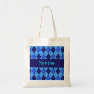 Monogram initial X personalised name tote bag