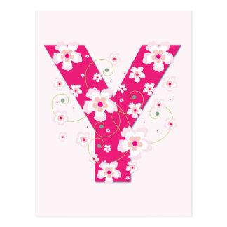 Monogram initial Y pretty pink floral postcard