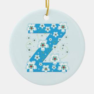 Monogram initial Z pretty blue floral ornament