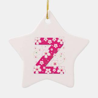 Monogram initial Z pretty pink floral ornament