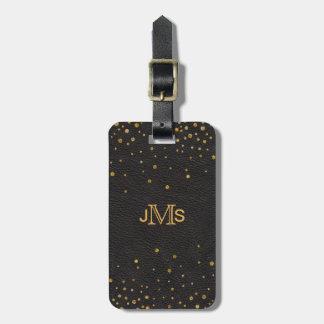 Monogram Initials | Black Leather Gold Confetti Luggage Tag