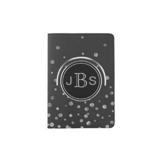 Monogram Initials | Black & Silver Confetti Dots Passport Holder