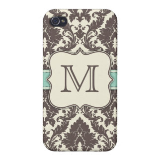 Monogram Initials Elegant Floral Damask Art Deco iPhone 4 Covers