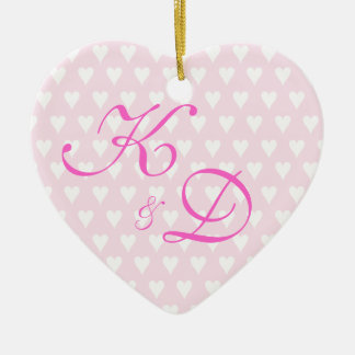 Monogram initials for engagement or wedding christmas ornament
