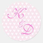 Monogram initials for engagement or wedding round sticker