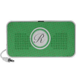 Monogram Initials Green Gray iPod Speakers