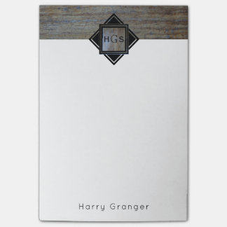 Monogram Initials Masculine for Guys   Rustic Wood Post-it Notes