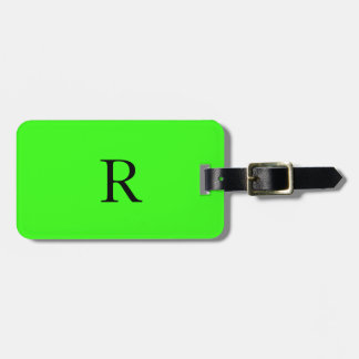Monogram Initials Name Neon Green Fluorescent Cool Luggage Tag