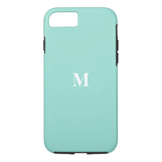 Monogram Initials Solid Eggshell Blue Color Cool iPhone 8/7 Case