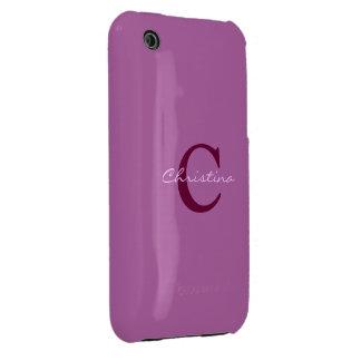 Monogram, initital purple orchid iphone 3g case Case-Mate iPhone 3 cases