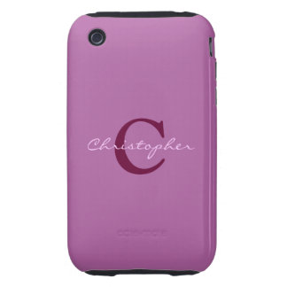 Monogram, initital purple orchid iphone 3g case tough iPhone 3 cover