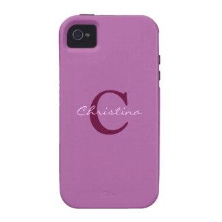 Monogram, initital purple orchid iphone 4 case