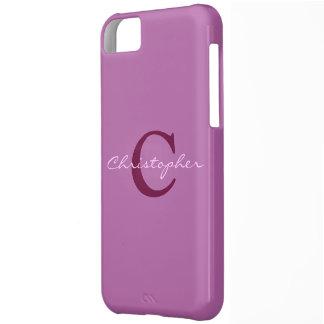 Monogram, initital purple orchid iphone 5c case