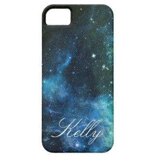 Monogram iPhone Cases Galaxy Stars Blue Green 5/5S