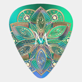 Monogram  Iridescent Blue Green Gold Mandala Guitar Pick