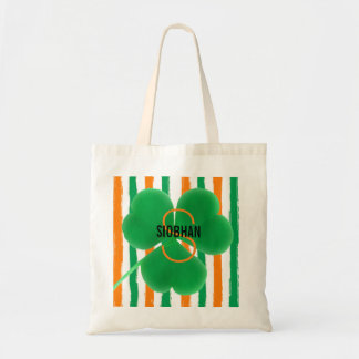 Monogram Irish Colors | St. Patrick's Day Shamrock Tote Bag