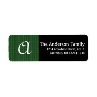 Monogram Irish Green Plaid Return Address Label