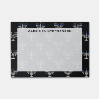 Monogram Israel Silver Hanukkah Menorah on Black Post-it Notes