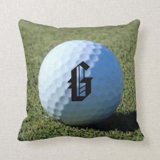 (Monogram - It) Golf Ball on Green close-up photo Cushion