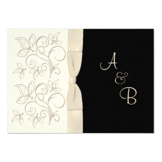 Monogram Ivory, Black Floral Wedding Invitation