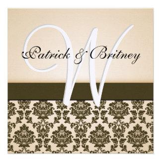Monogram Ivory & Brown Damask Wedding Invitations