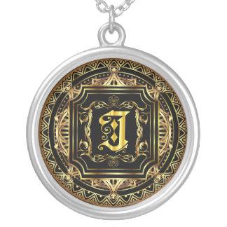 Monogram J Customize Edit Change Background Color Round Pendant Necklace