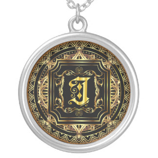 Monogram J Customize Edit Change Background Color Silver Plated Necklace