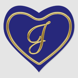 Monogram J in 3D gold Heart Sticker