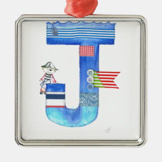 Monogram J pirate collection gift Christmas Ornament