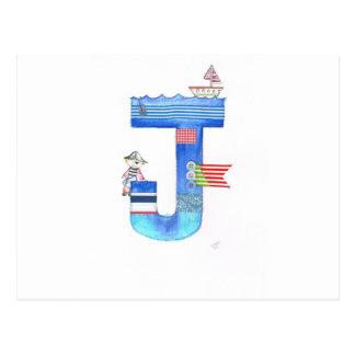 Monogram J pirate collection gift Postcard