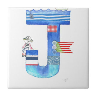 Monogram J pirate collection gift Tile