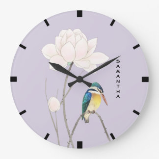 Monogram Japanese Vintage Kingfisher Wall Clock