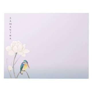 "Monogram Japanese Vintage Lotus 11"" x 8.5"" Notepad"