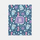 Monogram | Jellyfish & Seahorses | Blue Purple Fleece Blanket