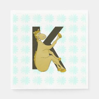 Monogram K Cartoon Pony Personalised Standard Luncheon Napkin