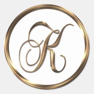 Monogram K Faux Bronze Round Sticker