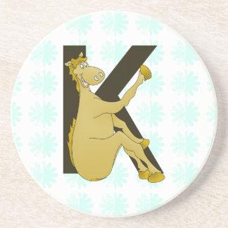 Monogram K Flexible Horse Personalised Beverage Coaster