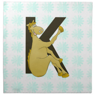 Monogram K Flexible Horse Personalised Cloth Napkins