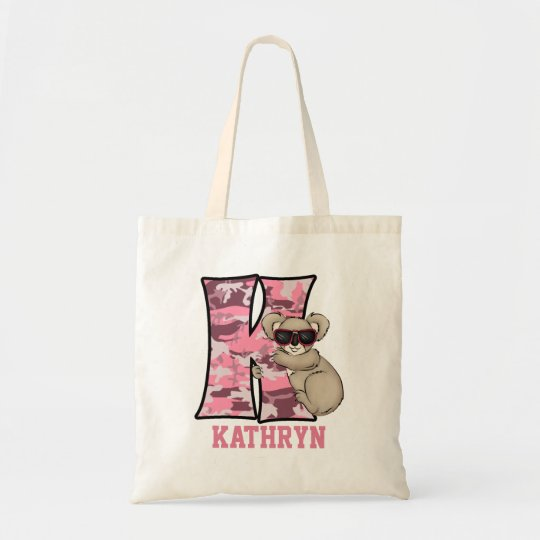 Monogram K for Girls Pink Koala Bear Tote