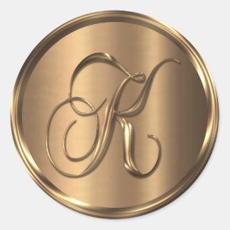 Monogram K NONMETALLIC Bronze Envelope Seal Round Sticker