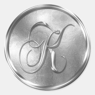 Monogram K NONMETALLIC Silver Envelope Seal Round Sticker