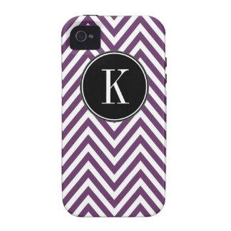 Monogram K Purple White Chevron Zig Zag Pattern iPhone 4/4S Cover