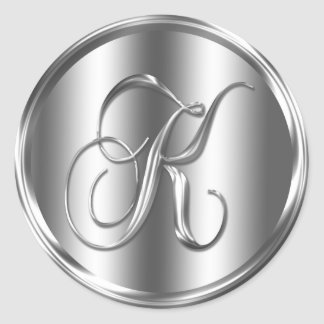 Monogram K Silver Color Round Sticker