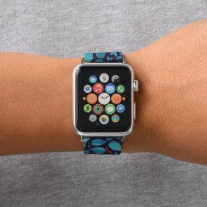 Monogram Kawaii Cute Blue Whales Apple Watch Band