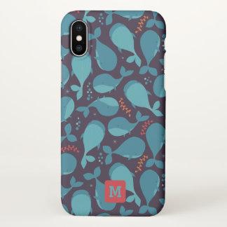 Monogram. Kawaii Cute Blue Whales. iPhone X Case