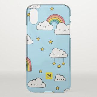 Monogram. Kawaii Cute Stars Clouds and Rainbows iPhone X Case